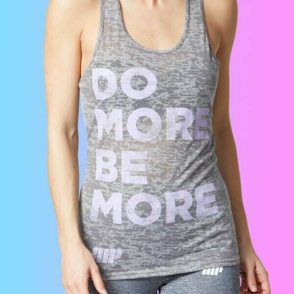 Myprotein Women's Performance Slogan Vest -Light grey/purple letters DO MORE UK6