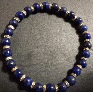 Spiritual-Grade-A-6mm-Lapis-Lazuli-amp-Rhinestone-Stretch-Healing-Chakra-Bracelet