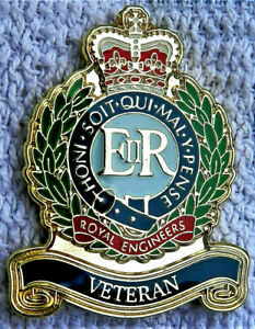 BEAUTIFUL MILITARY / ARMY ENAMEL PIN BADGE ROYAL ENGINEERS VETERAN BRITISH ARMY