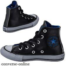 Niños Chicos Niña Converse All Star Cuero Negro Hi Top de Superdry Boot Size UK 10.5
