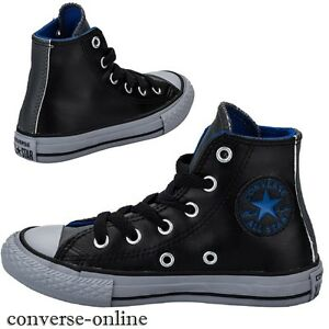 59306ae282f KIDS Boy s Girl s CONVERSE All Star LEATHER HIGH TOP Trainers Boots ...