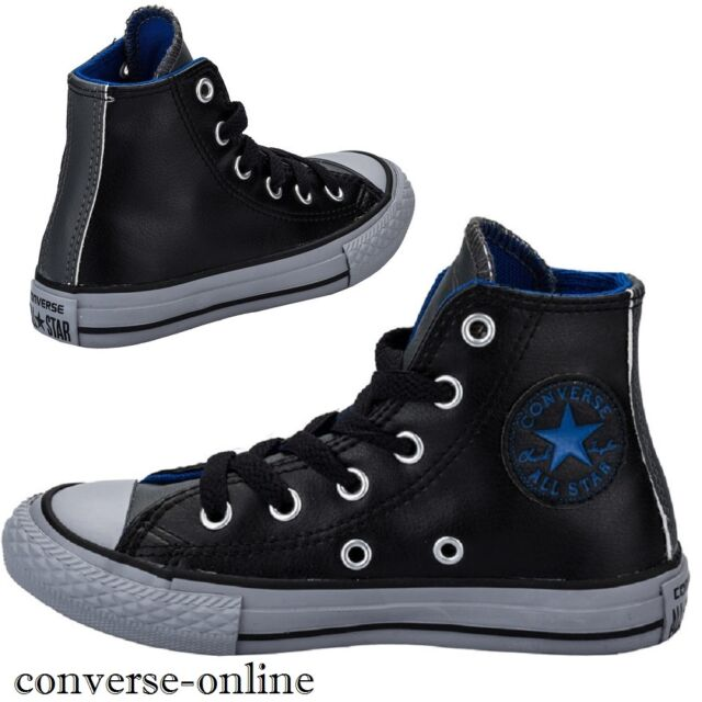 0ce6a54d5199cb KIDS Boy s Girl s CONVERSE All Star BLACK LEATHER HIGH TOP Trainers SIZE ...