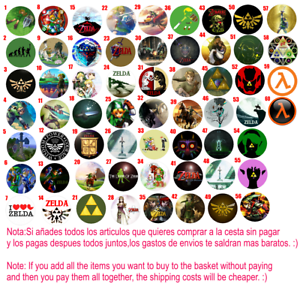 Chapa Button Badge Pins Zelda Half Life Videojuegos Videogames