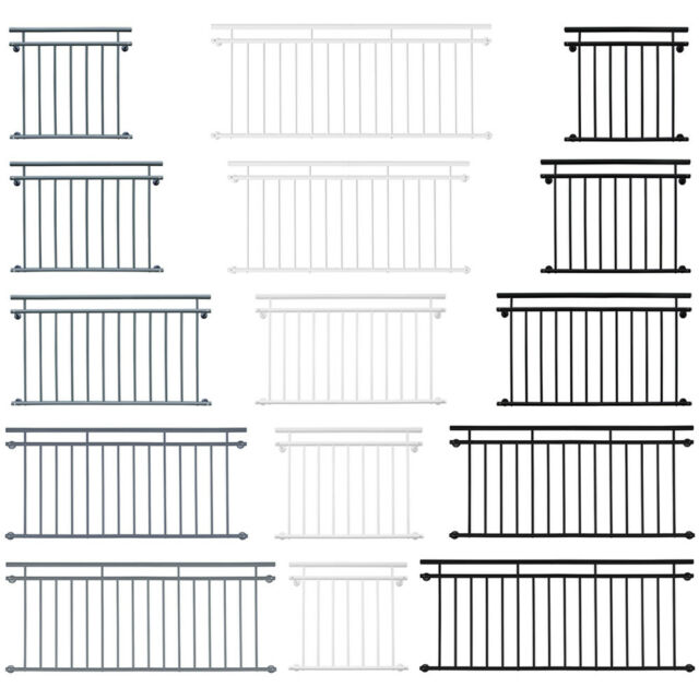 Farben V2Aox Französischer Balkon Geländer Balkongeländer 90x 100-156 cm versch