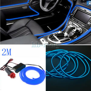 Universal-Car-2M-Interior-LED-Decor-Wire-Strip-Atmosphere-Neon-Cold-Light-Blue