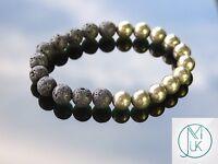 Lava/Pyrite Natural Gemstone Bracelet 7-8'' Elasticated Healing Stone Chakra