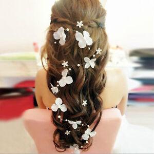 Frauen Blumen Perlen Band Brautstirnband Hochzeit Haarband