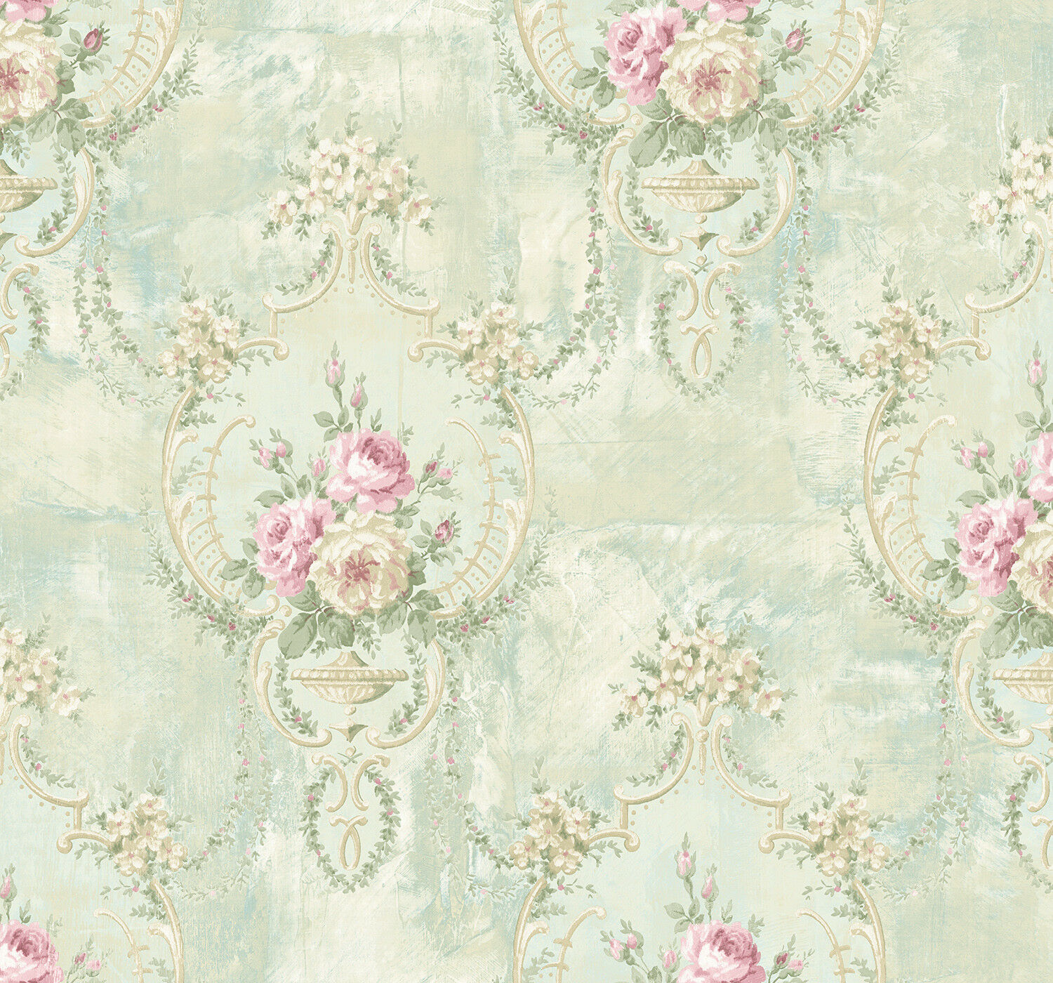 Damask Wallpaper Floral Blue Cream Pink Green Victorian Style