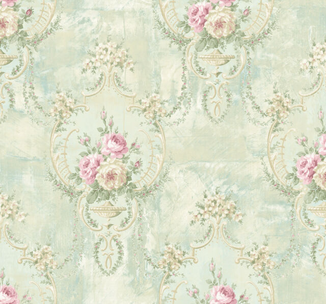 Floral Damask Wallpaper Blue Flowers Vintage Retro Watercolour Textured Cream