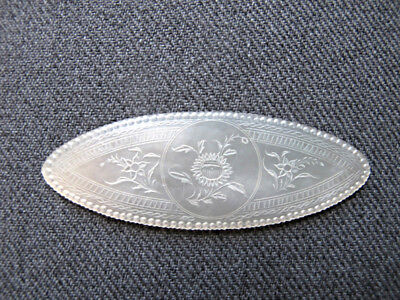 Antique Chinese Export Carved Mother of Pearl Mop Gaming Token Chip