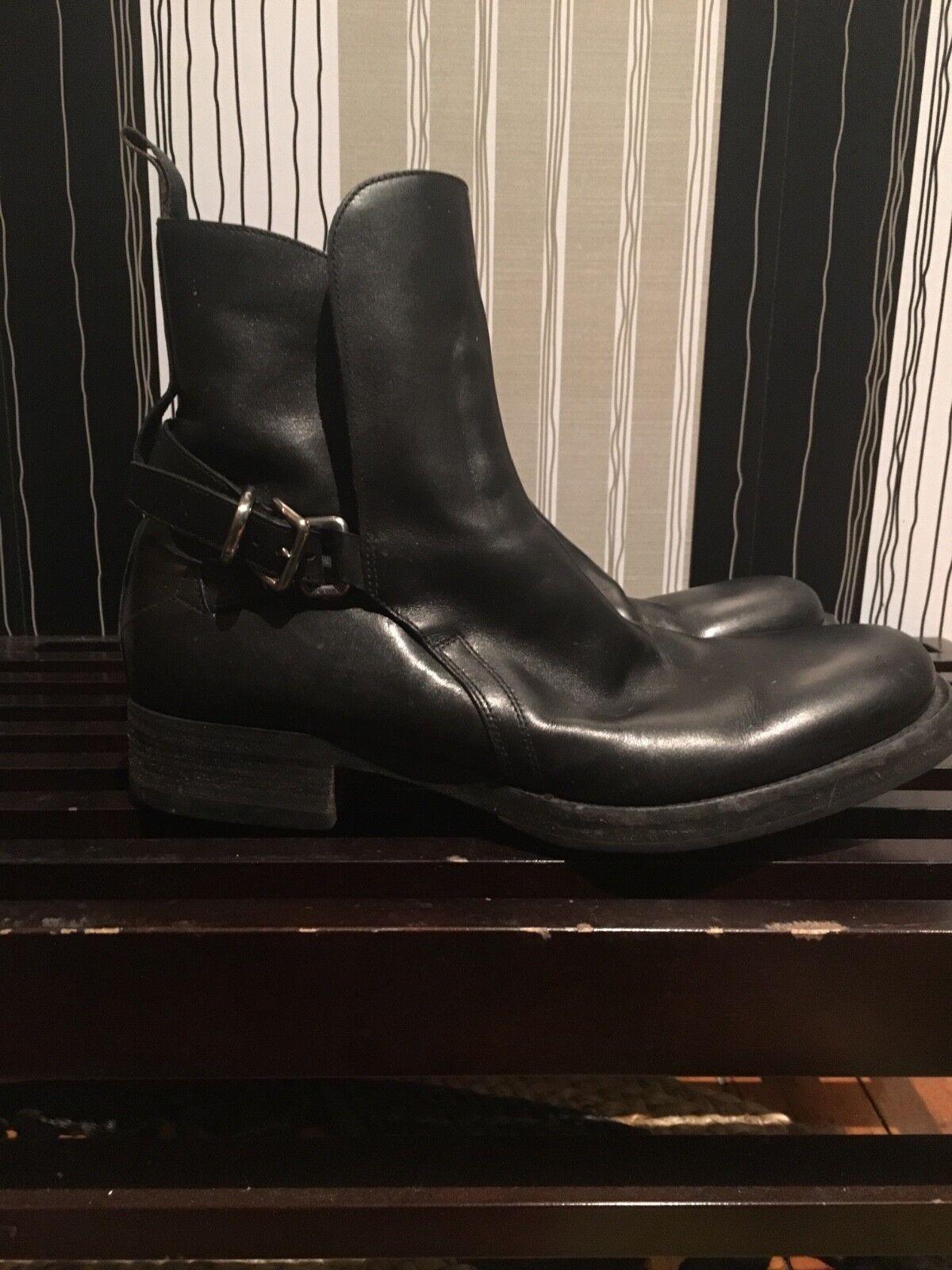nero Leather Prada Moto stivali