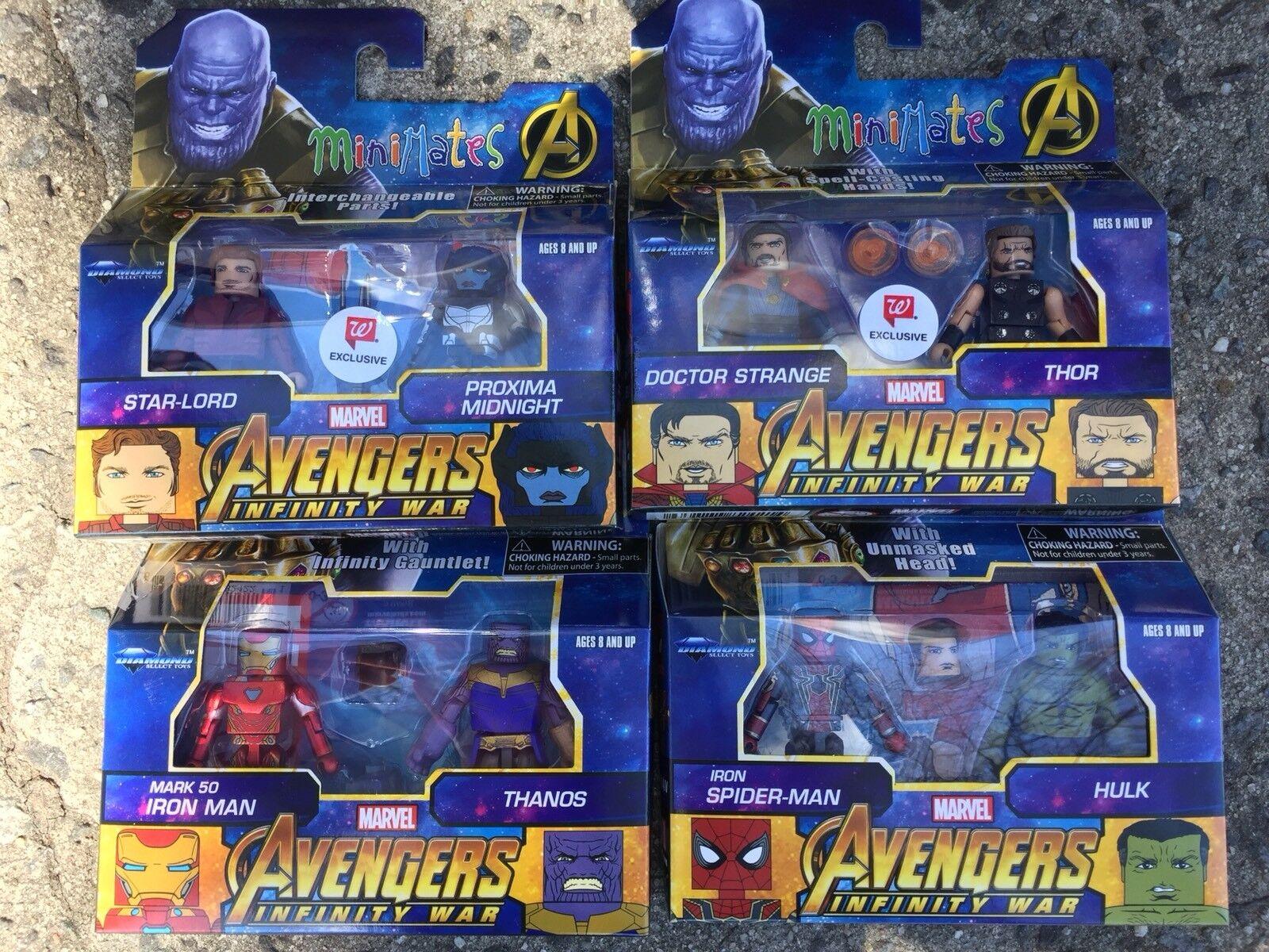 Marvel Minimates Walgreens Avengers Infinity War War War Complete Set of 4 Thanos Iron 38f46c