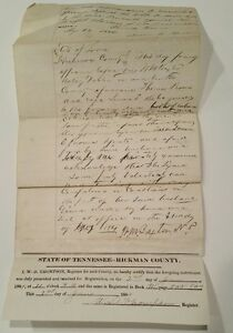 Antique-Property-Deed-1884-Hickman-County-Tennessee-handwritten-W-B-Russell