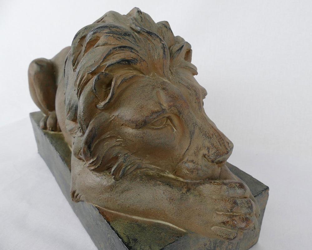Ruhender Löwe Tempelwächter Skluptur Figur Vintage Dekofigur Türwächter NY08-b