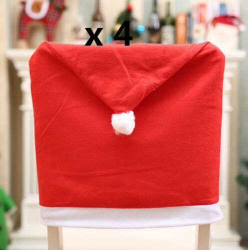 Red Hat Chair Back Cover Santa Clause Hat Christmas Dinner Table Xmas Decor Set