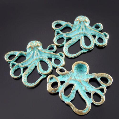 10 pcs Lot Retro Style Zinc Alloy Green Squid Charms Necklace Pendant Findings