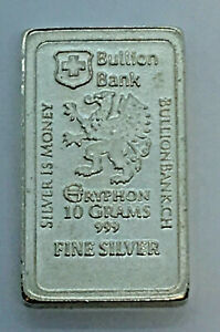 10g-034-Silver-Is-Money-034-Gryphon-Bullion-Bank-999-Silver-Fractional-Bullion-Bar