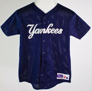 new style 28745 3c686 Details about Vintage MLB NY Yankees Jeter #2 Youth Baseball Jersey  Majestic Blue