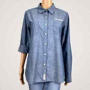 Whataburger Fast Food Restaurant Employee Button Up Shirt LARGE Blue Pockets