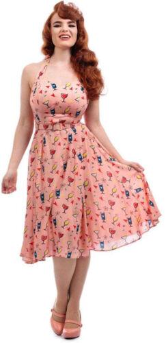 Collectif Beth VINTAGE ATOMIC cocktail con allacciatura al collo Swing Dress Abito Rockabilly
