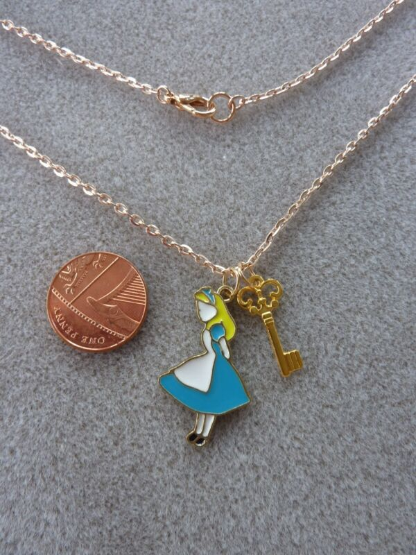 "Alice Enamel Charm Pendant Rose Gold Chain Key Necklace 18"" Birthday Gift # 67"