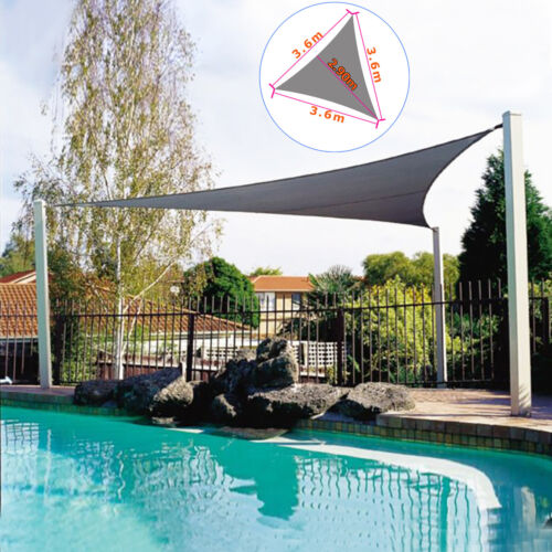 Small Gazebo Sun Sail Shade Garden Patio Canopy Waterproof Triangle Rectangle 3m