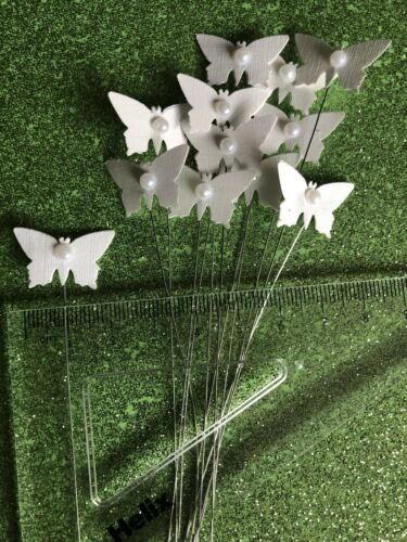 """Fleuriste Artisanat en lin blanc /& Pearl butterflys sur 7/"""" Fleuriste Fil Pack de 12"""