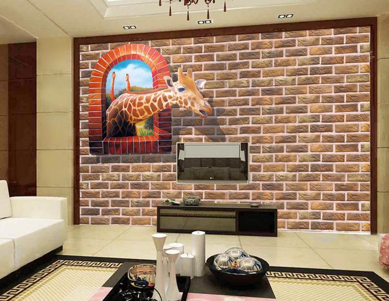 3D Retro Ziegel Giraffe 864 Tapete Wandgemälde Tapete Tapeten Bild Familie DE | Feinbearbeitung  | Sale  | Preiszugeständnisse