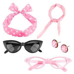 bce715430d82 Vintage 50 s Women Halloween Costume Earring Glasses Sunglasses ...
