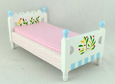 Dolls House Pastel Painted Single Bed Miniature 1:12 Scale Bedroom Furniture