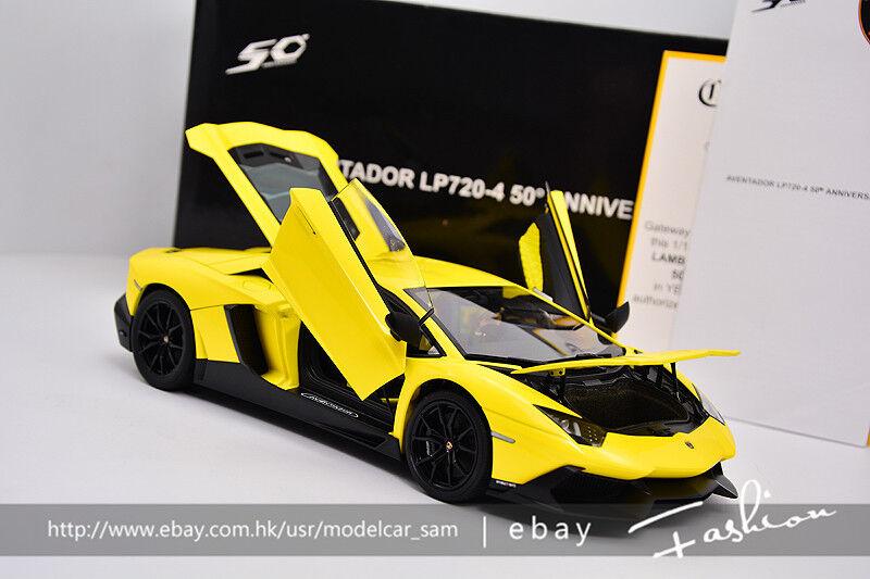 Autoart 1 18 LAMBORGHINI Aventador LP720-4 50th jaune