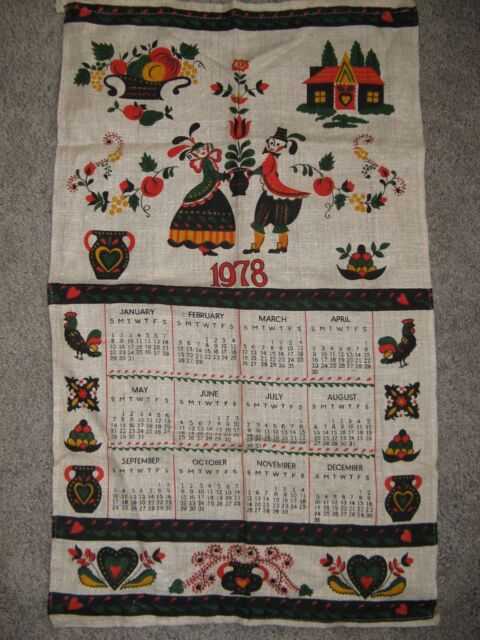 1978 Calendar September.Vintage 1978 Calendar Linen Kitchen Tea Towel Pennsylvania Dutch Mint Ebay