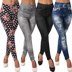 L101 Leggins Hose Jeans-Destroyed-Look Leggings Jeggings Optik Washed