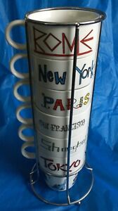 Set of 6 Stacking World Market Cities Coffee Cups Ceramic Mugs with Chrome Rack | eBay