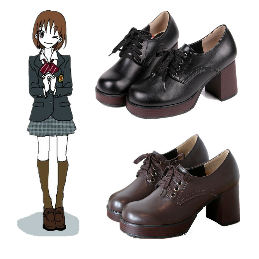 Japanese JK School Student Uniform Platform High Heel shoes Ankle Boots Cosplay