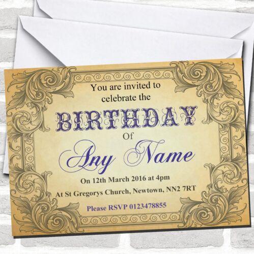 Typography Vintage Blue Postcard Birthday Party Invitations
