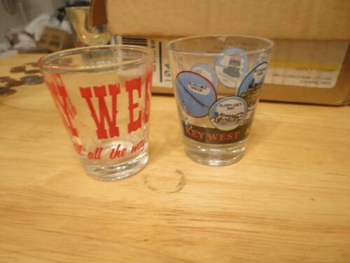 2 KEY WEST SOUVENIR SHOT GLASS GLASSES Never used. Must sell