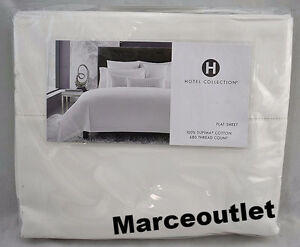 Hotel-Collection-680-Thread-Count-Supima-Cotton-QUEEN-Flat-Sheet-White