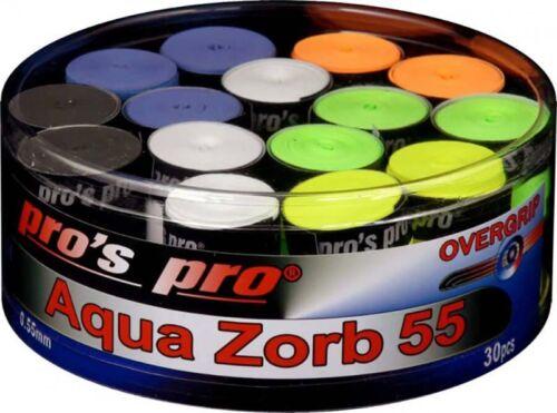 Pro/'s Pro Aqua Zorb 55 Overgrip Tennis Badminton Squash Raquette Grip-Boîte de 30