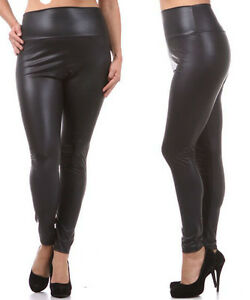 a92776fea1e5 Image is loading TRENDY-HIGH-WAISTED-FAUX-LEATHER-LEGGINGS-SLIM-PANTS-