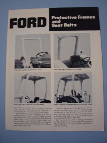 Ford Tractor ROPS Protective Frames /& Seat Belts Brochure 4 pg MINT Original /'72
