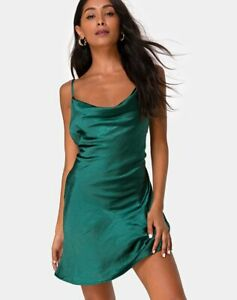 MOTEL-ROCKS-Paiva-Dress-in-Satin-Forest-Green-Small-S-MR54