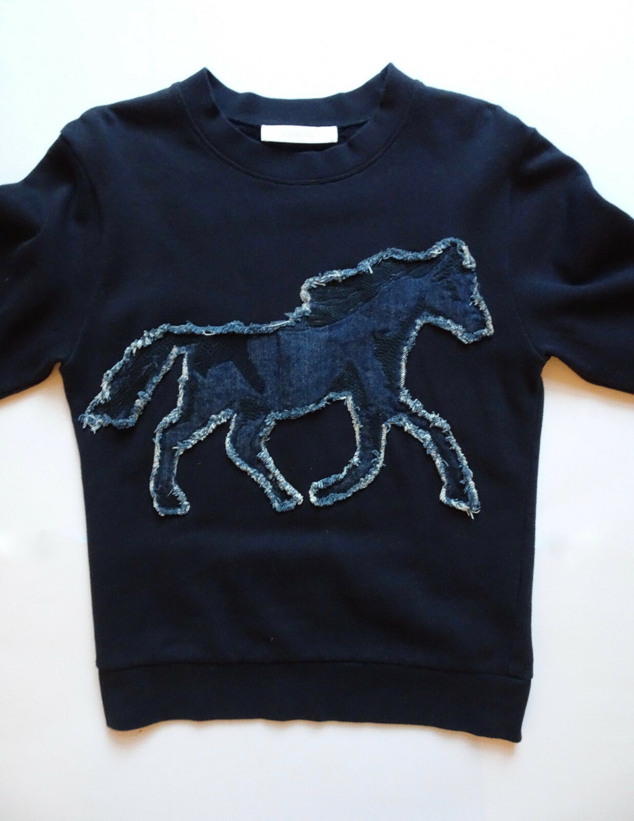 AUTH SEE BY CHLOE SWEATSHIRT DARK NAVY 36 S HORSE SWEATER EXTRA LONG SLEEVES