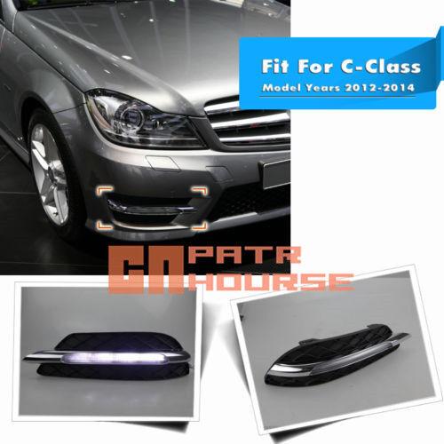 LED Daytime Running Light For Benz W204 C-Class C200 C300 Fog DRL 2011 2012 2013