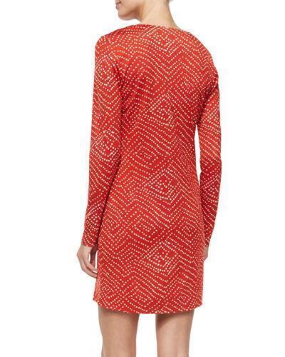 DVF Diane Von Von Von Furstenberg REINA Long Sleeve Silk Tunic Dress Batik Red  348 7dca0b