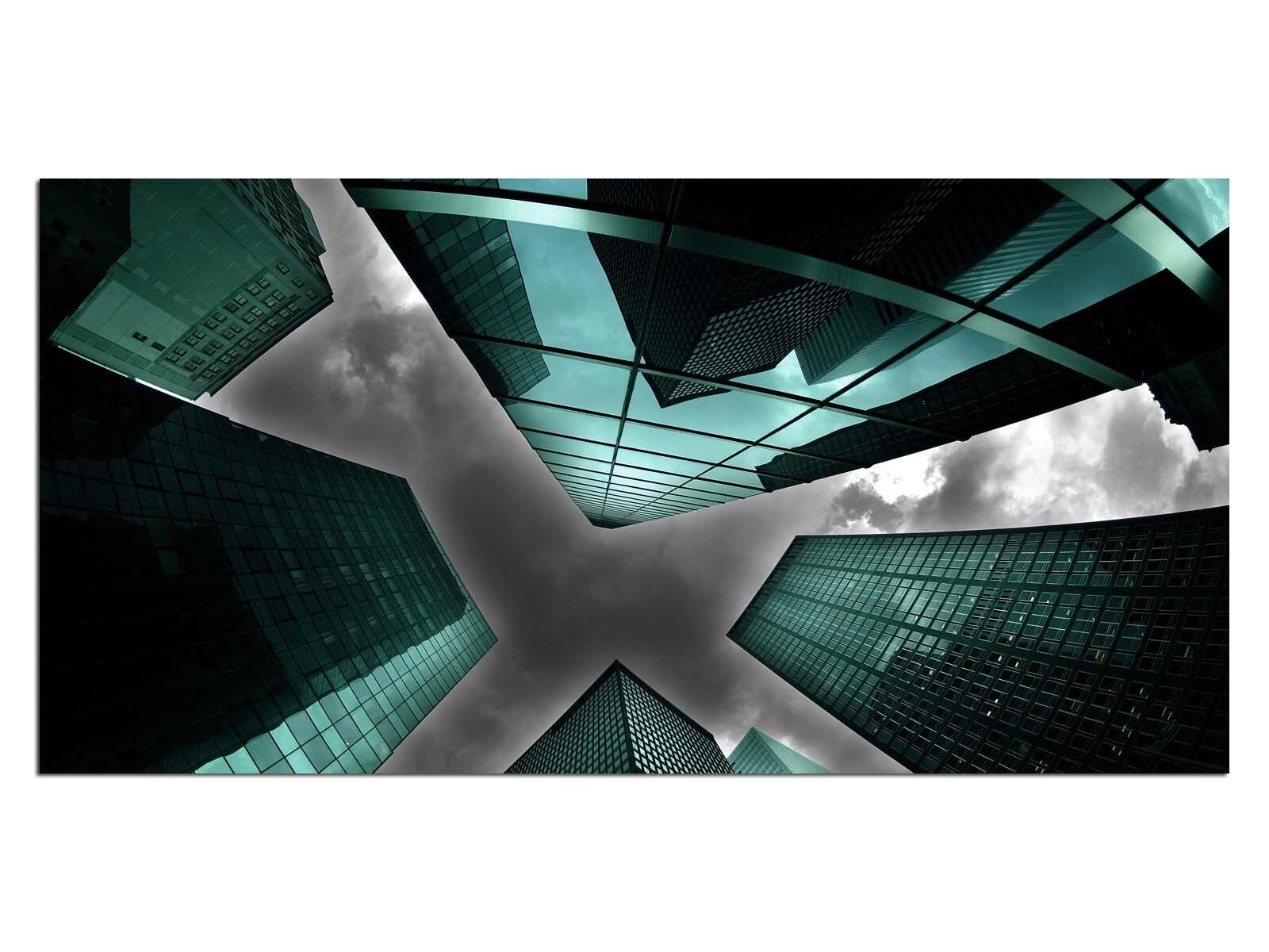 HD Glasbild EG4100501005 WOLKENKRATZER STADT TÜRKIS 100 x 50 cm Wandbild SKYLINE