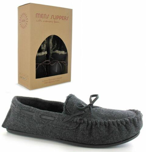Mens Moccasin Slippers Adults Arthur Luxury Memory Foam Soft Fur Tweed Slippers