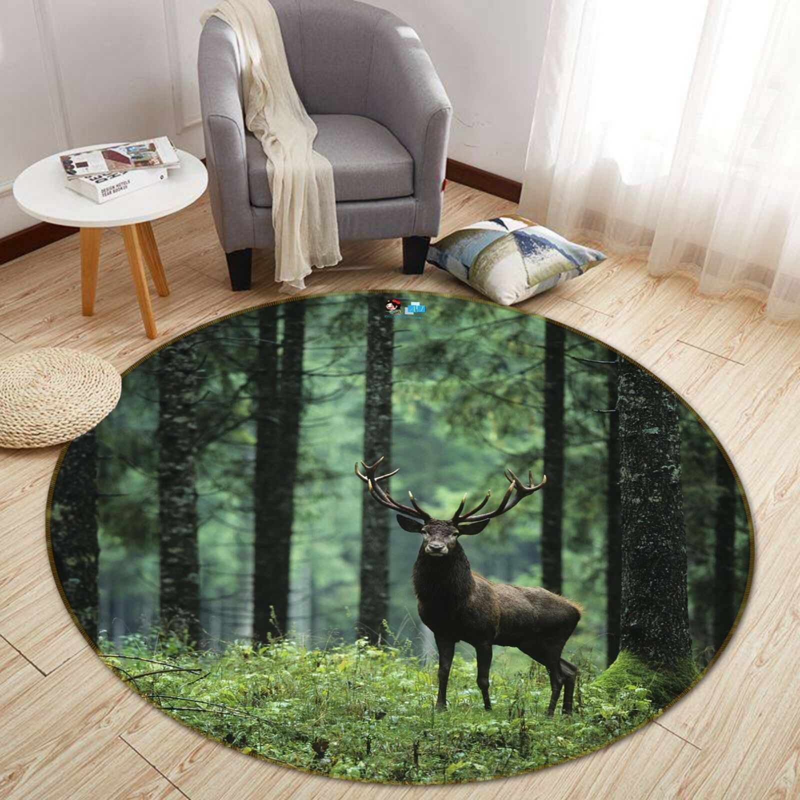 3D Forest Deer 8 Non Slip Rug Mat Room Mat Round Quality Elegant Photo Carpet US