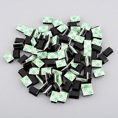 100pcs plastic Self-adhesive Rectangle holder Tie Cable Mount Black 13x9.5x6mm