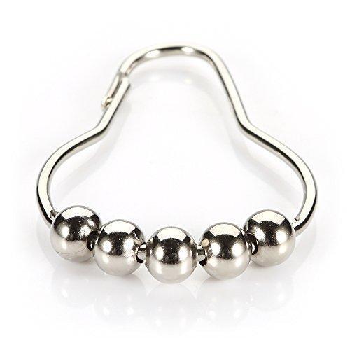 5Pcs Chrome Plated Ball Bead Easy Glide Shower Metal Curtain Rings Hooks kit